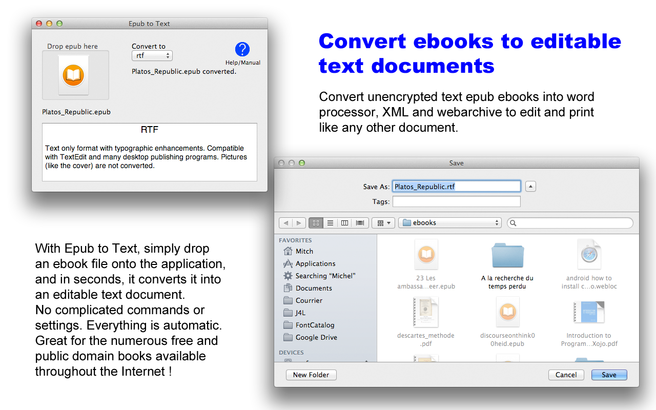 Epub to text converts Epub to rtf rtfd doc docx otf html webarchive txt ascii